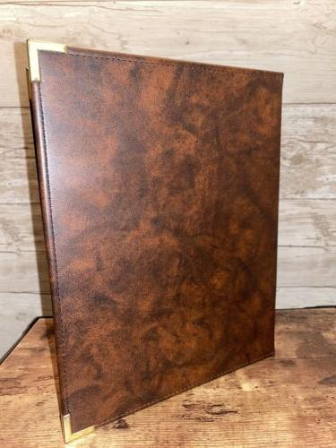 vtg brown faux leather writing note pad
