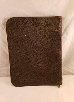 Vintage Large Leather 3 Ring Portfolio with 2 Pockets - Conm