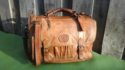 Vtg Colombian Leather Brown Distressed Briefcase Business Po